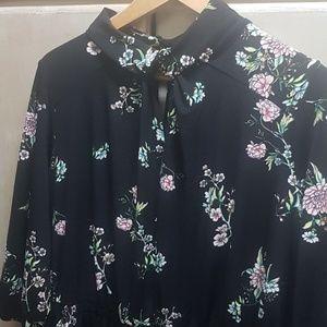 3/4 Sleeve Floral High Neck Keyhole Dress